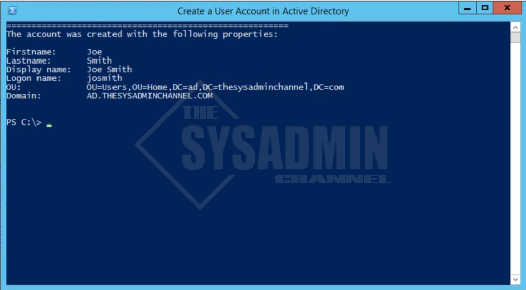 Create User Accounts in Powershell Finish