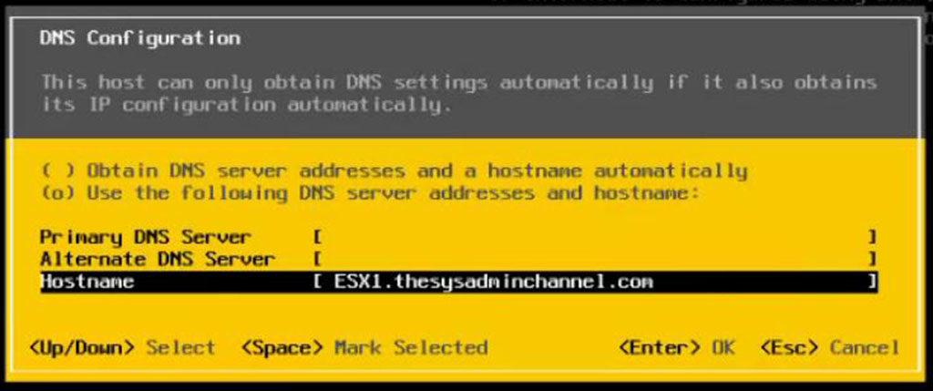 ESXi 5.5 DNS and Hostname Configuration