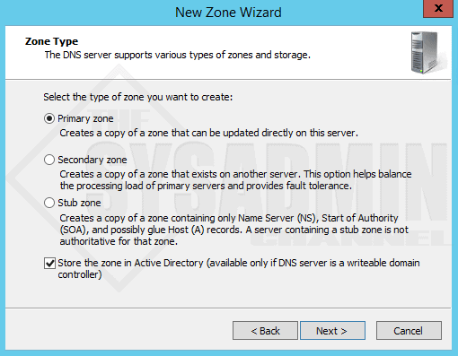 New Primary Zone - Zone Wizard