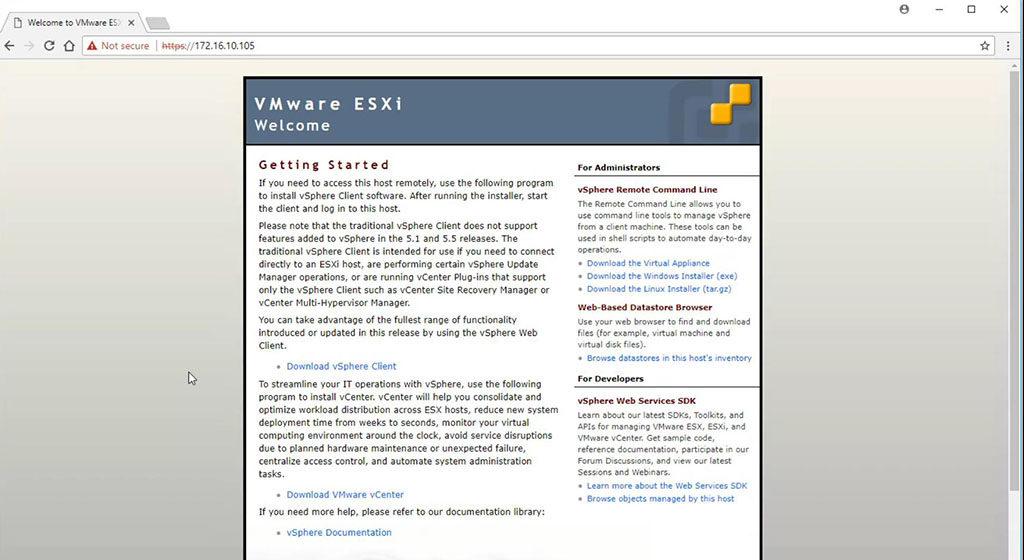 VMWare ESXi 5.5 Welcome Screen