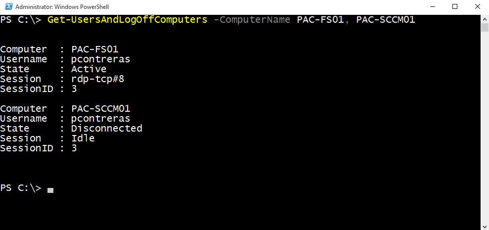 Get-UsersAndLogOffComputers -ComputerName