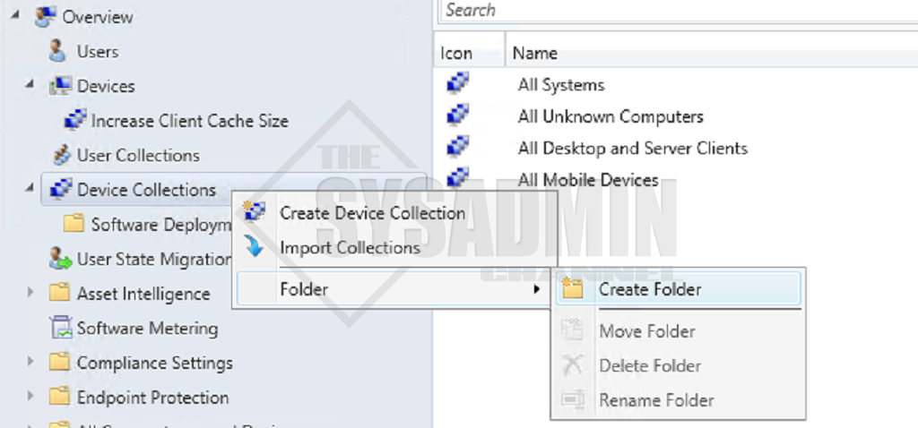 SCCM Create AD Folder