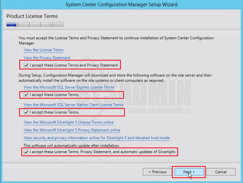 Accept All SCCM Terms