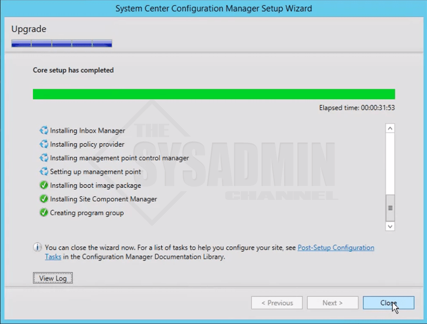 SCCM 1606 Upgrade Successful