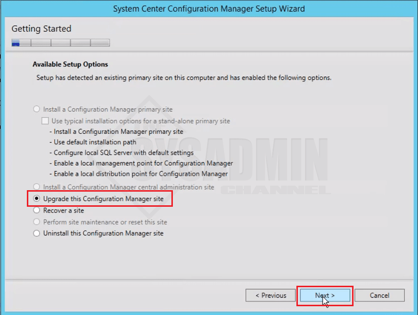 Upgrade Configuration Manager Site