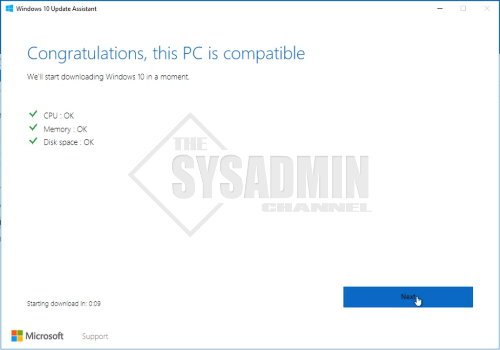 Upgrade PC Compatibility for Windows 10 Version 1803