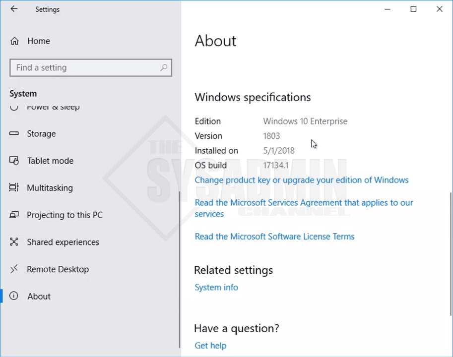 Windows 10 Enterprise version 1803