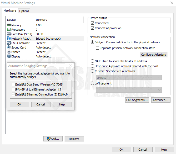 Bridged Adapters Showing in VMware Workstation