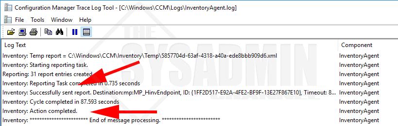 Check InventoryAgent Log for Hardware InventoryEnd