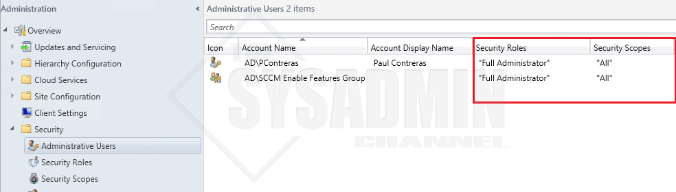 SCCM Administrative Users Roles - Mod