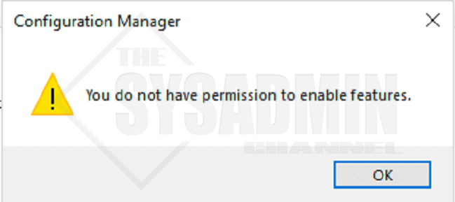 You Do Not Have Permission To Enable Features