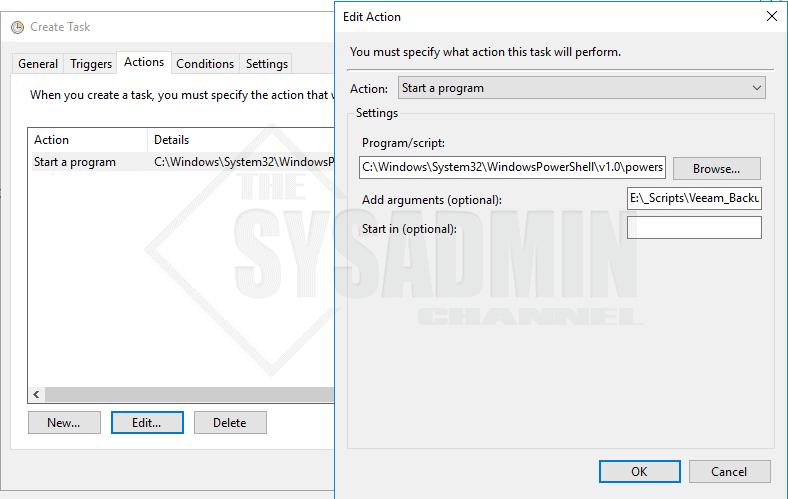 Create Action Scheduled Task Veeam