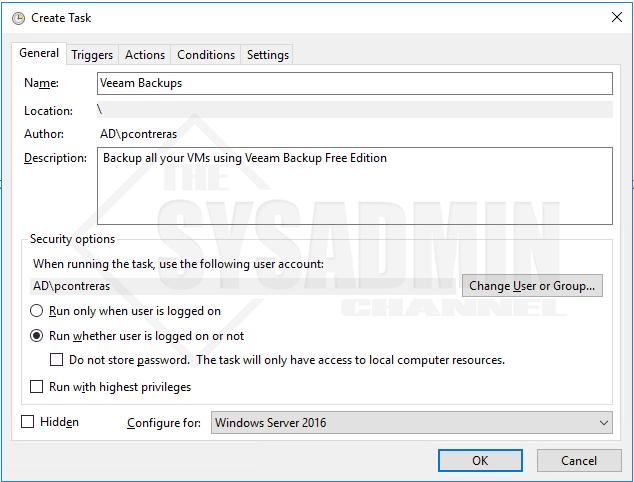 Create Scheduled Task Veeam