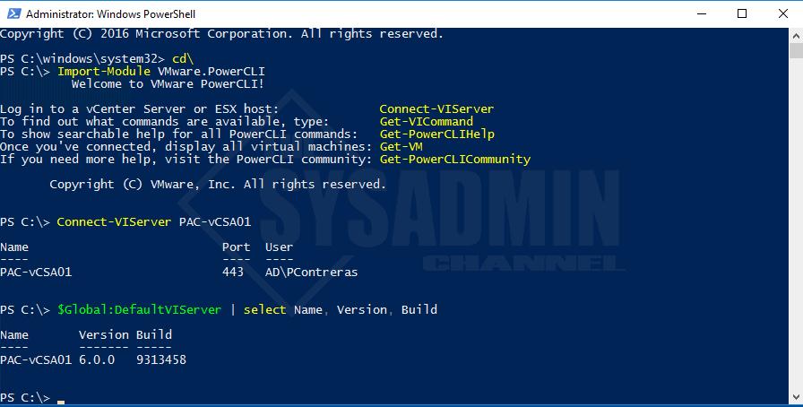 Global-DefaultVIServers - Select Name-Version-Build