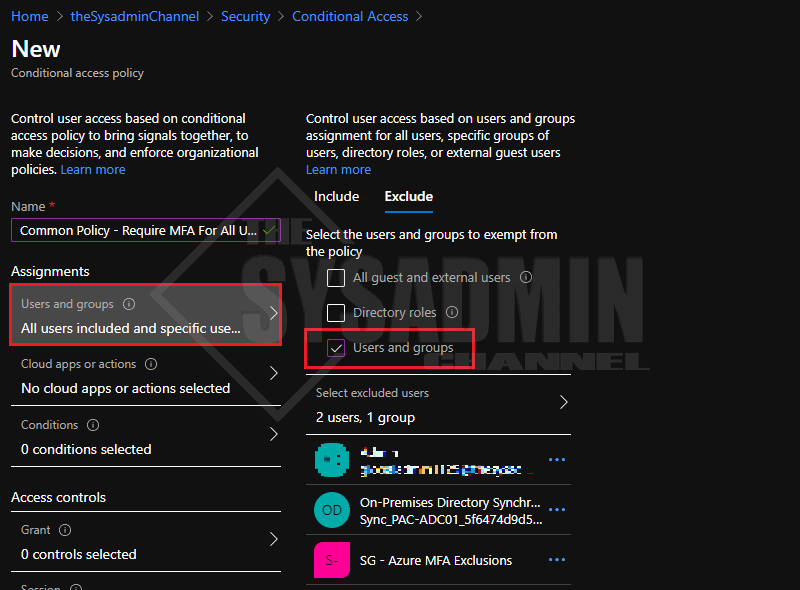 All Users MFA Policy Exclude Group