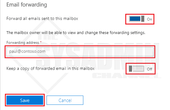 Office 365 Email Forwarding Screen