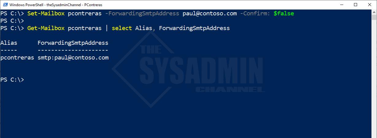 Set-Mailbox pcontreras -ForwardingSMTPAddress