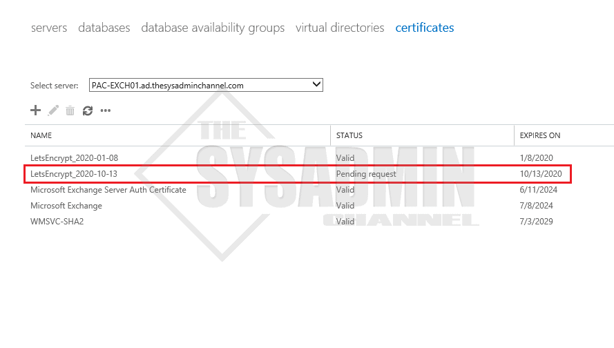 Certificate Pending Request