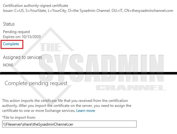 Complete CSR Certificate Request
