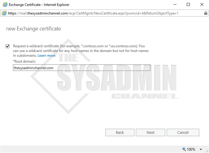Create a wildcard certificate