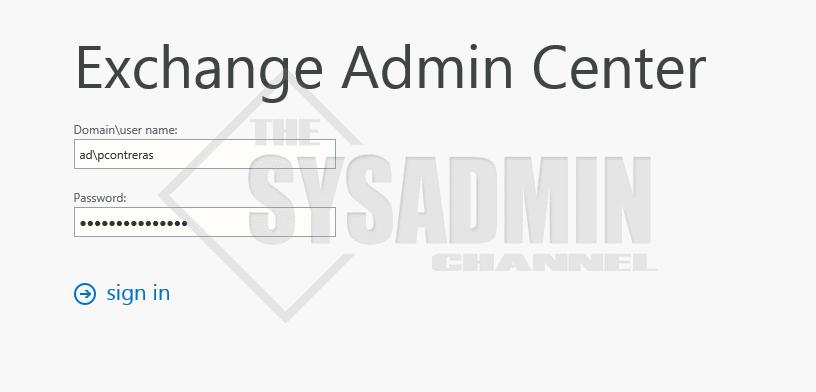 Exchange Admin Center 2016 Login