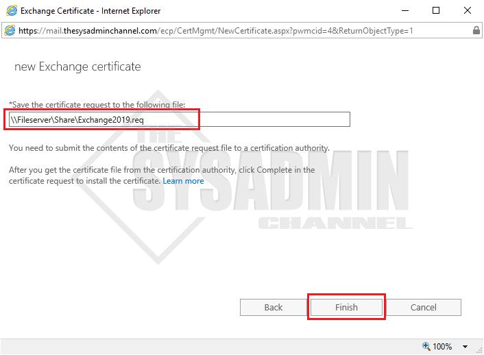 New Exchange Certificate Request Complete