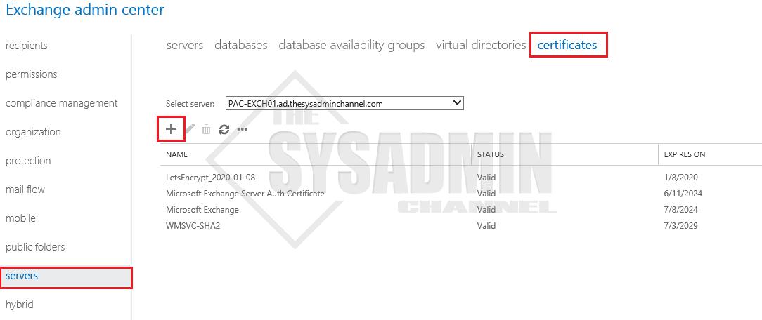 Servers-Certificates-Exchange-2019