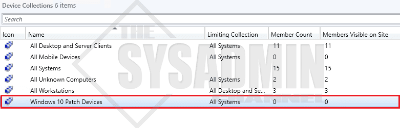 New-CMDeviceCollection Windows 10 Patch Devices