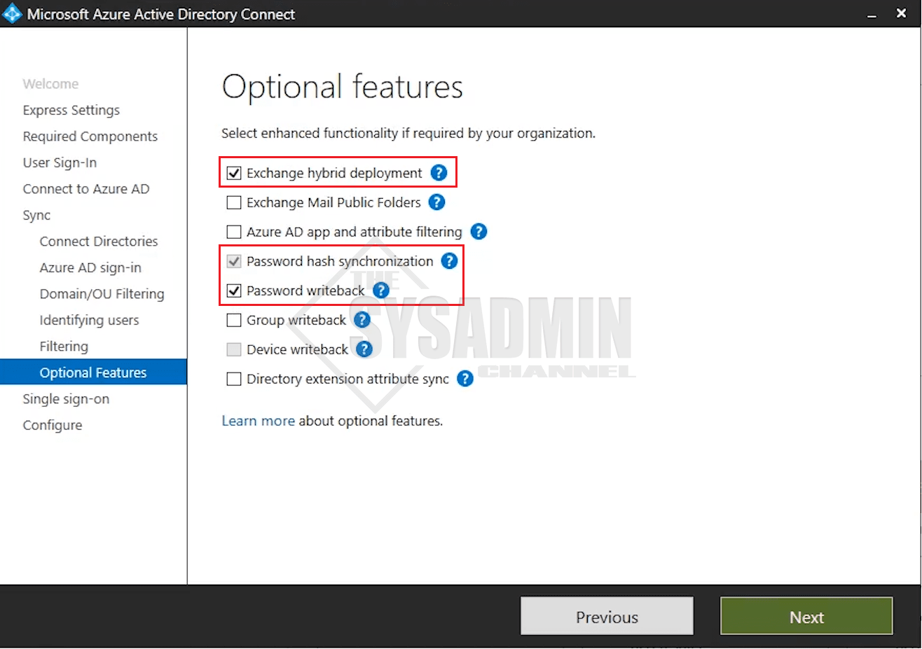 AADConnect Optional Features