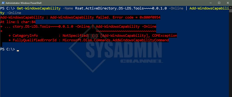 Add-WindowsCapability -Name RSAT Error