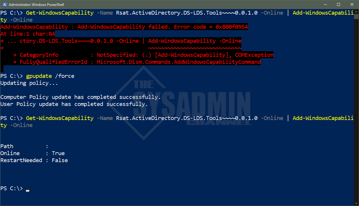 Add-WindowsCapability -Name RSAT Succeeded