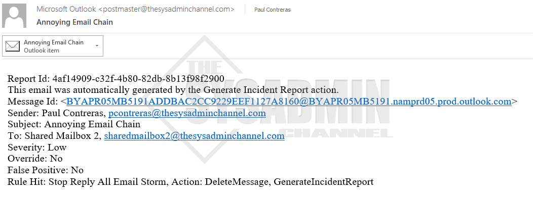 Incident Report Details Reply All Chain