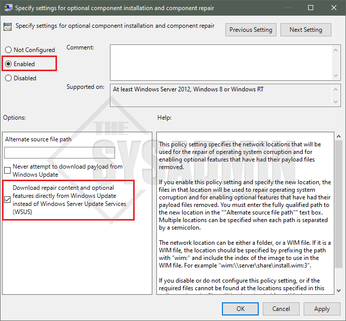 Specify Settings for optional component installations