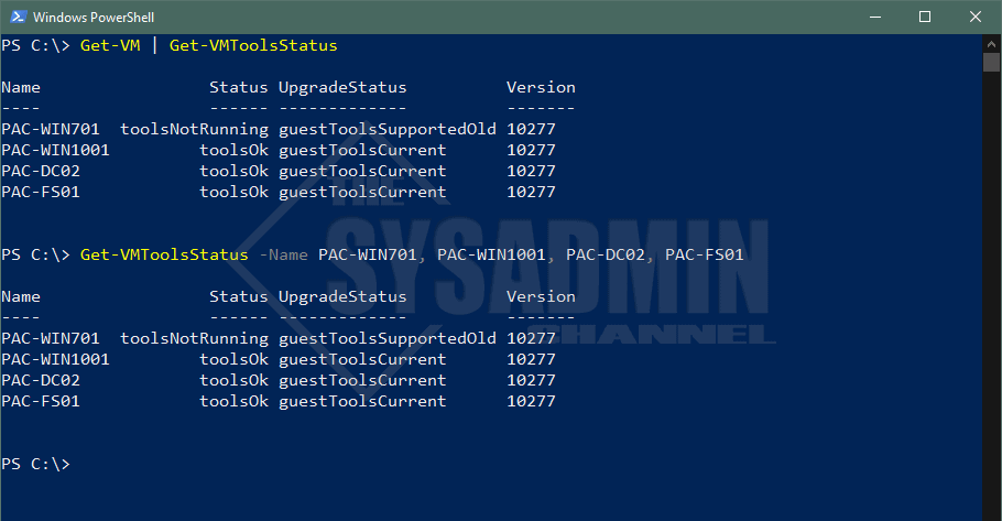 PowerCLI To Check VMware Tools Status