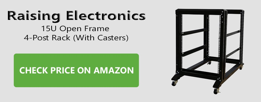 Raising Electronics 15U Open Frame 4-Post Rack with Casters