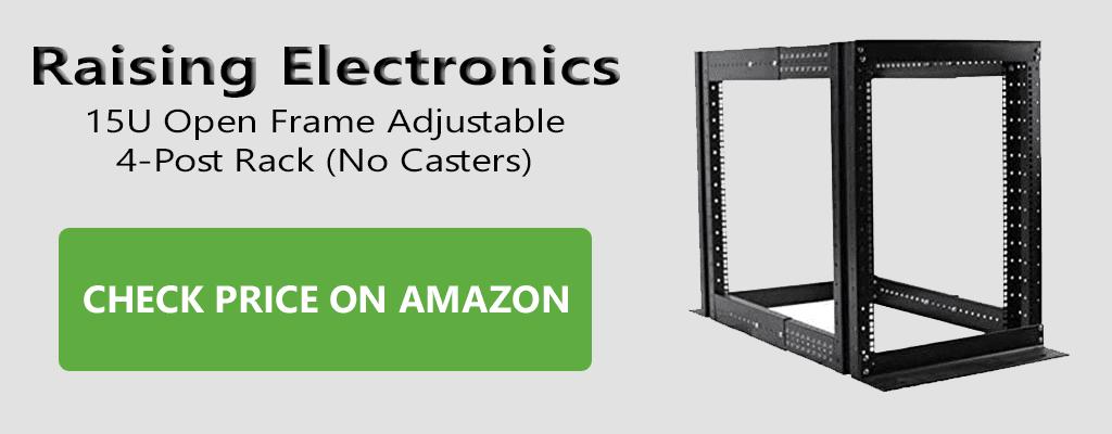 Raising Electronics 15U Open Frame Adjustable 4-Post Rack
