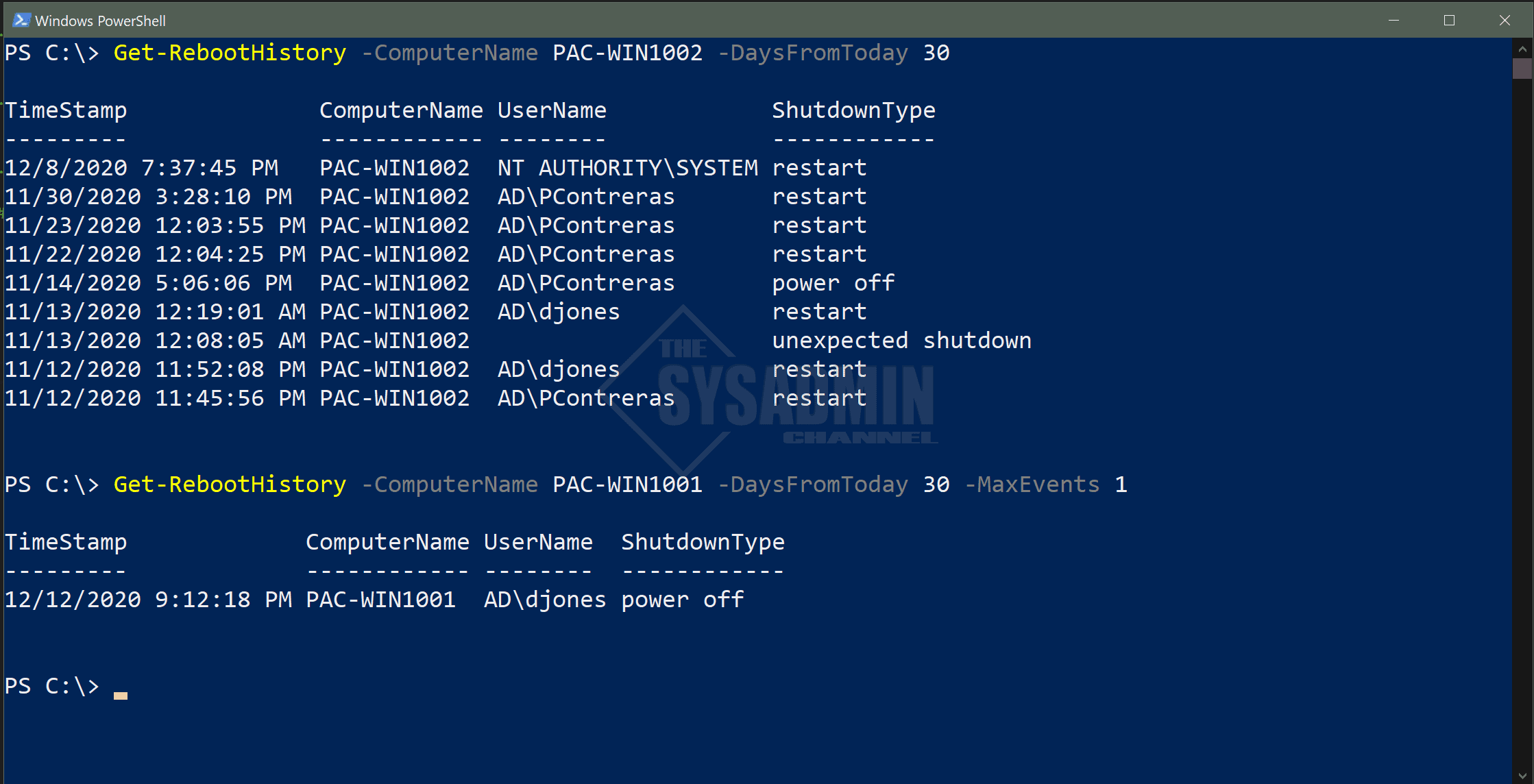 Get Reboot History Using Powershell Examples