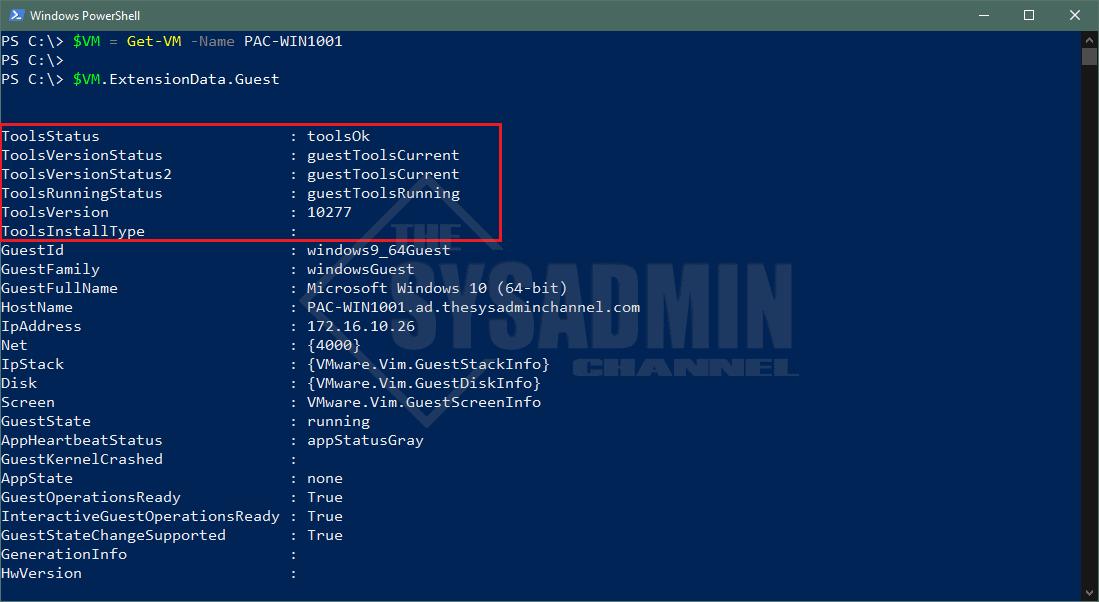 VMware Tools ExtensionData Guest Info