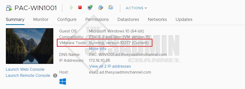 VMware Tools GUI status