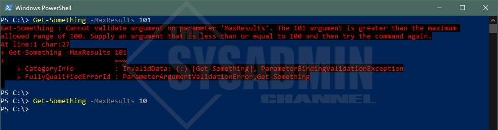 Get-Something Use ValidateRange Powershell