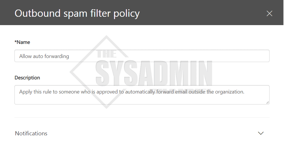 Create outbound spam policy - Enable automatic forwarding o365