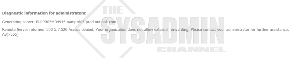 Your organization does not allow external forwarding