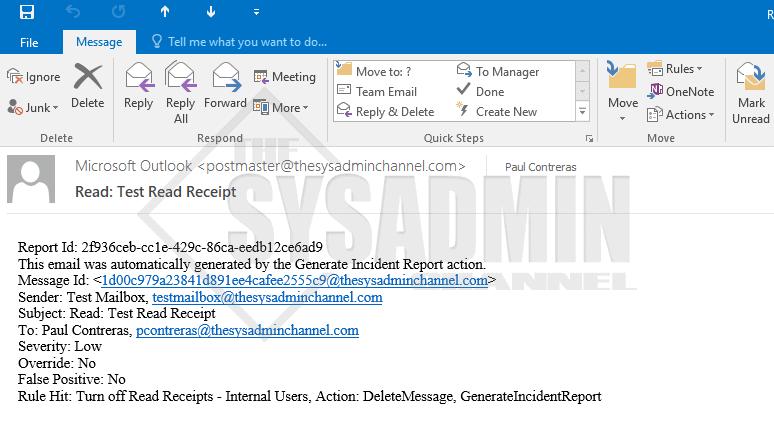 Read Receipt Incident Report