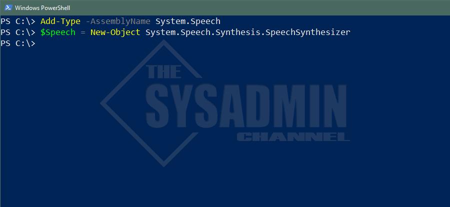 Add System.Speech Type Assembly