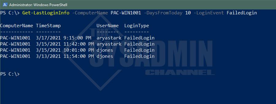 Computer Last Login Information - Failed Logins