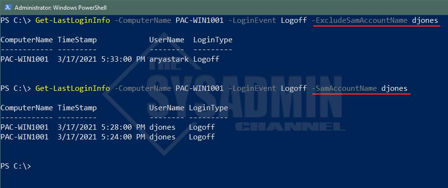 Computer Last Login Information - samaccountname