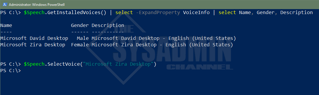 Get Installed Voices Powershell1