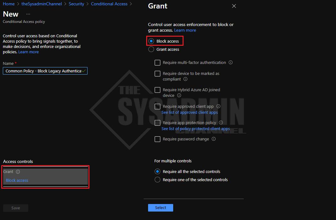 Block Access Azure AD Conditional Access blade