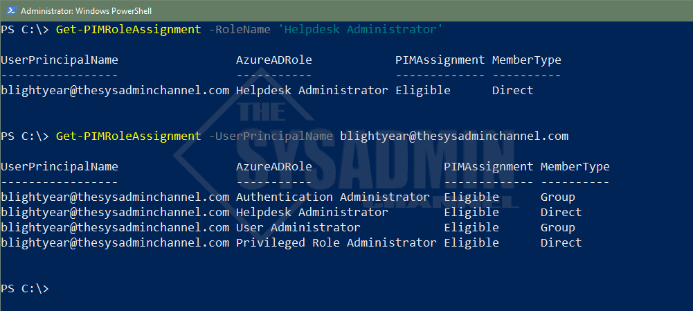 Get PIM Role Assignment Azure AD Using Powershell