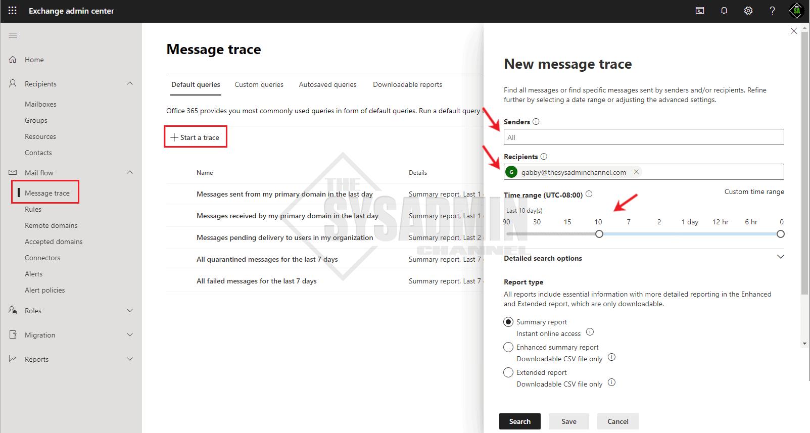 Start Message Trace Exchange Online